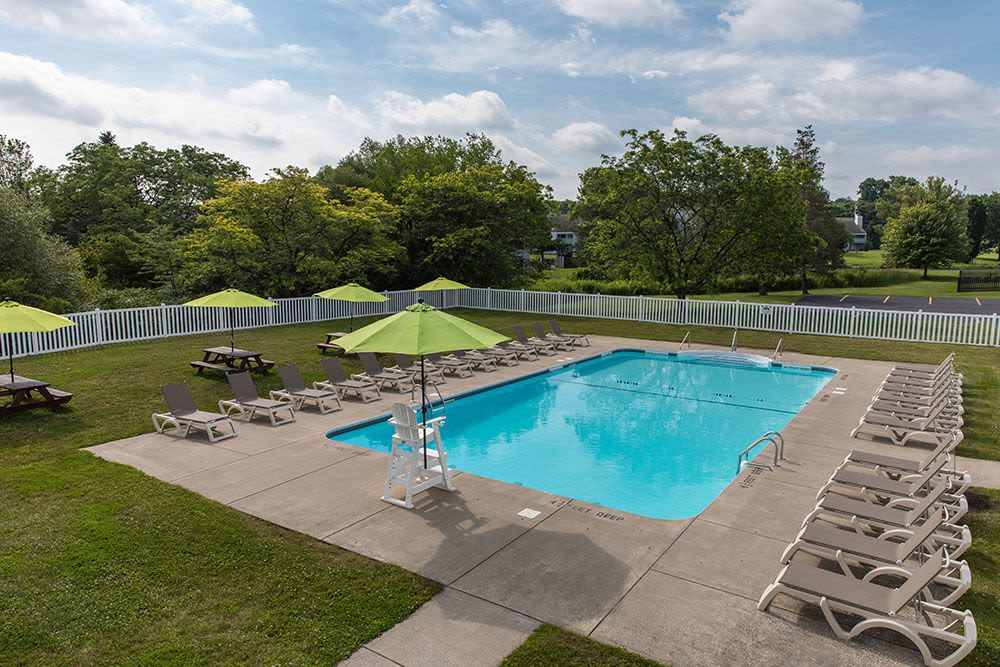 Sparkling swimming pool at The Meadows Apartments in Syracuse
