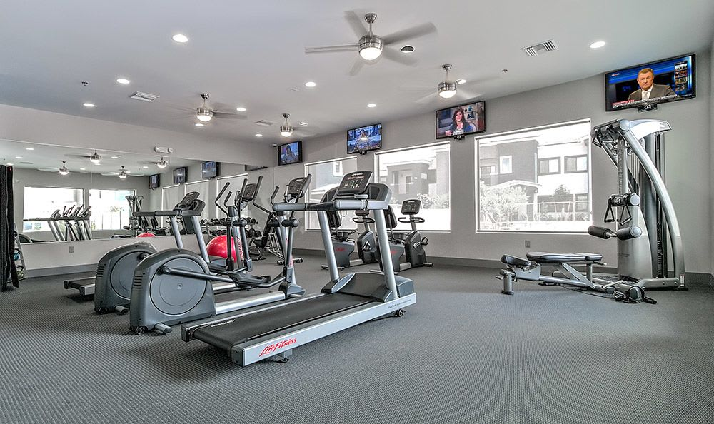 Well-equipped on-site fitness center at Dream Apartments in Henderson
