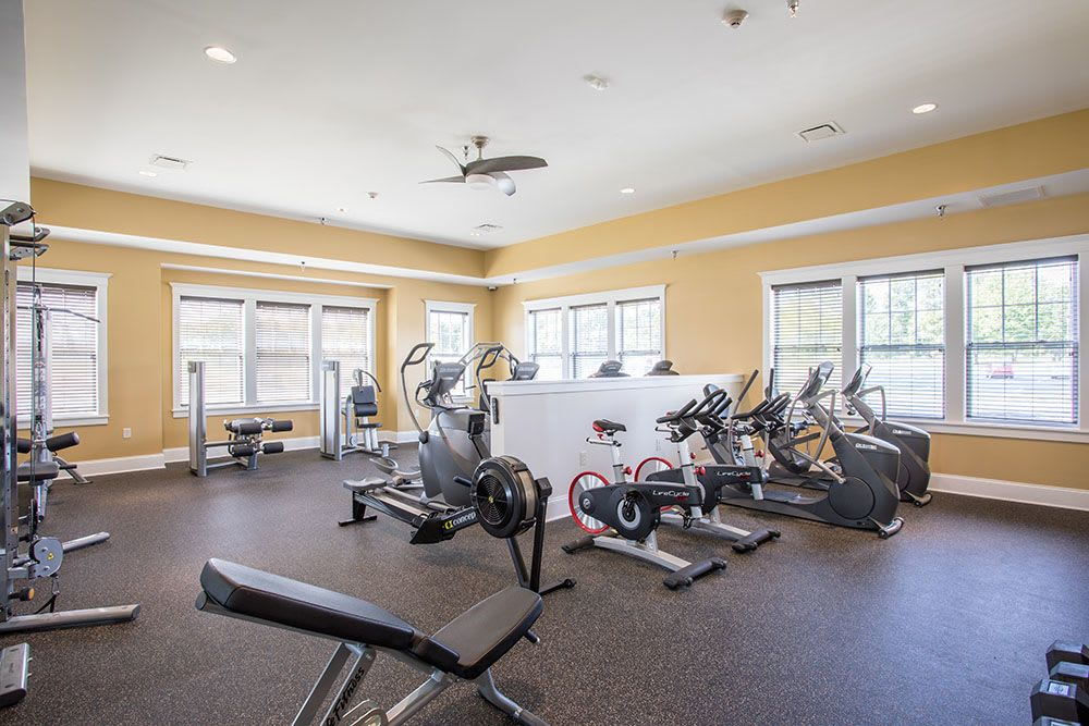 Beautiful fitness center at The Landings at Meadowood in Baldwinsville, New York