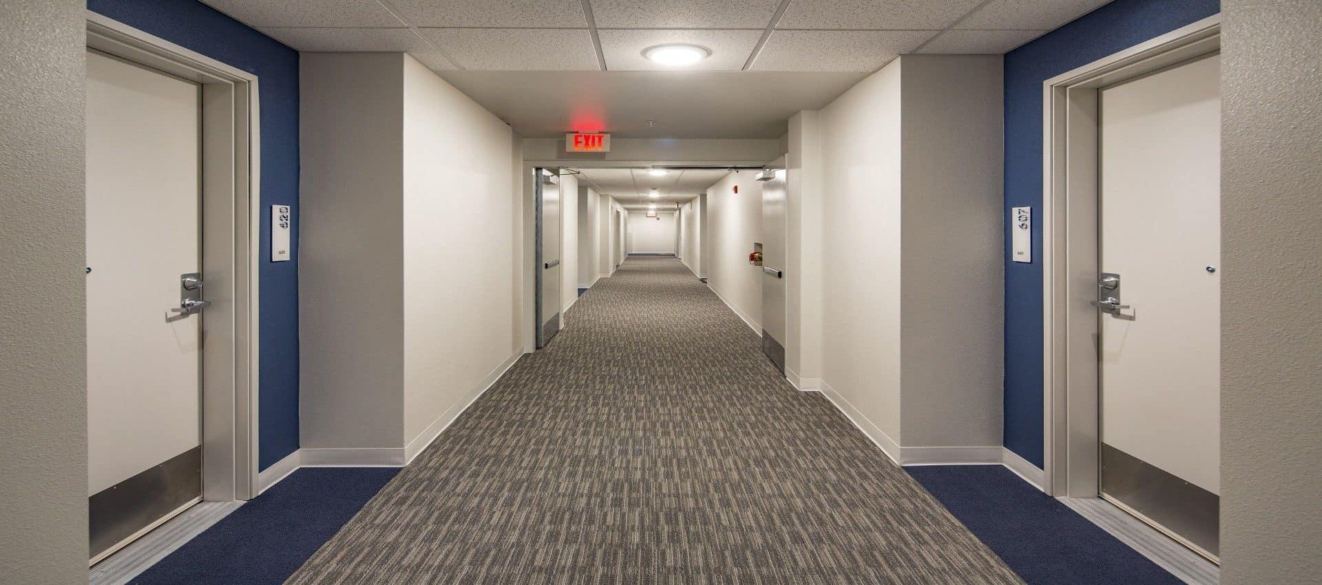Hallway entrances at EVIVA Midtown