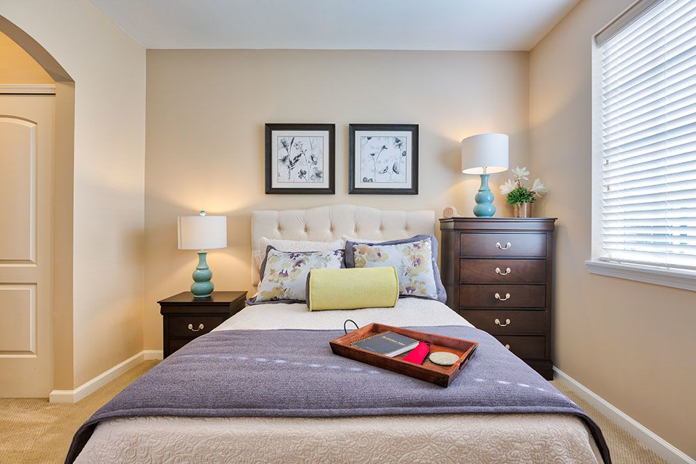 Alternative view of a model bedroom at Three Creeks Senior Living