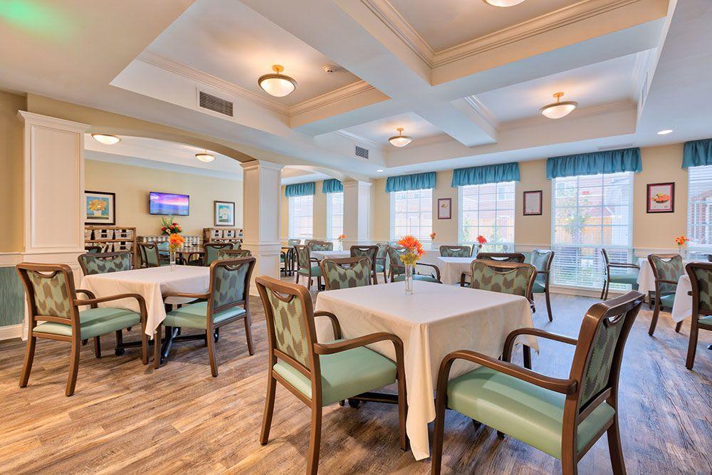 Memory care dining hall at Three Creeks Senior Living