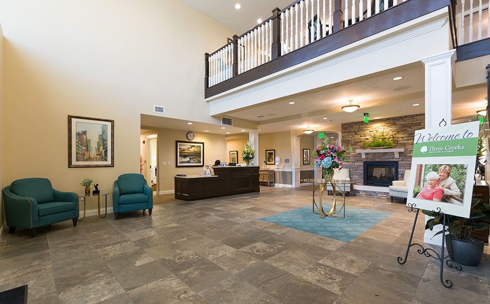 The welcoming lobby at Three Creeks Senior Living