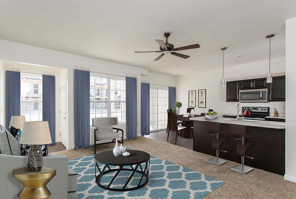 Spacious living room at Avon Commons in Avon, New York