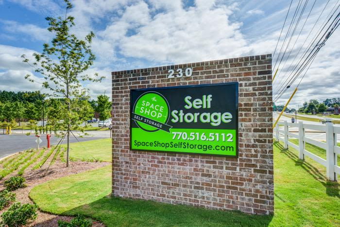 Storage facility front sign at Space Shop Self Storage
