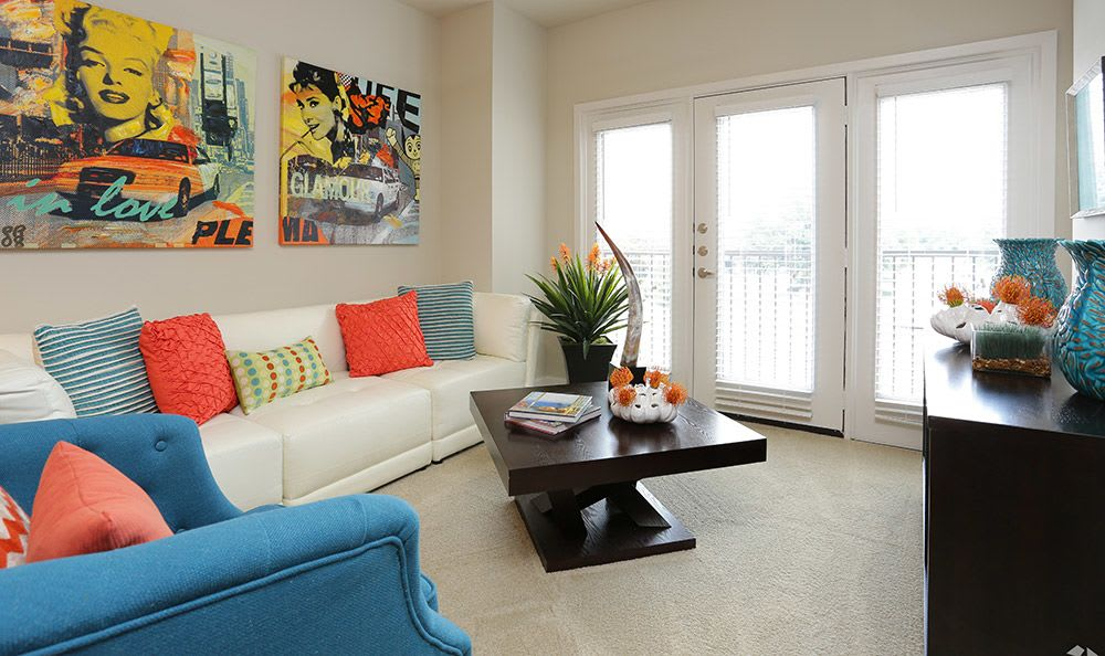 Open and spacious living room at Addison Keller Springs in Addison