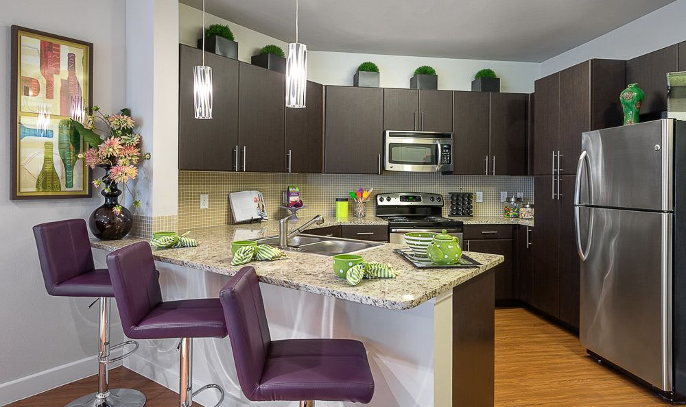 Modern and well-equipped kitchens in homes at Addison Keller Springs in Addison