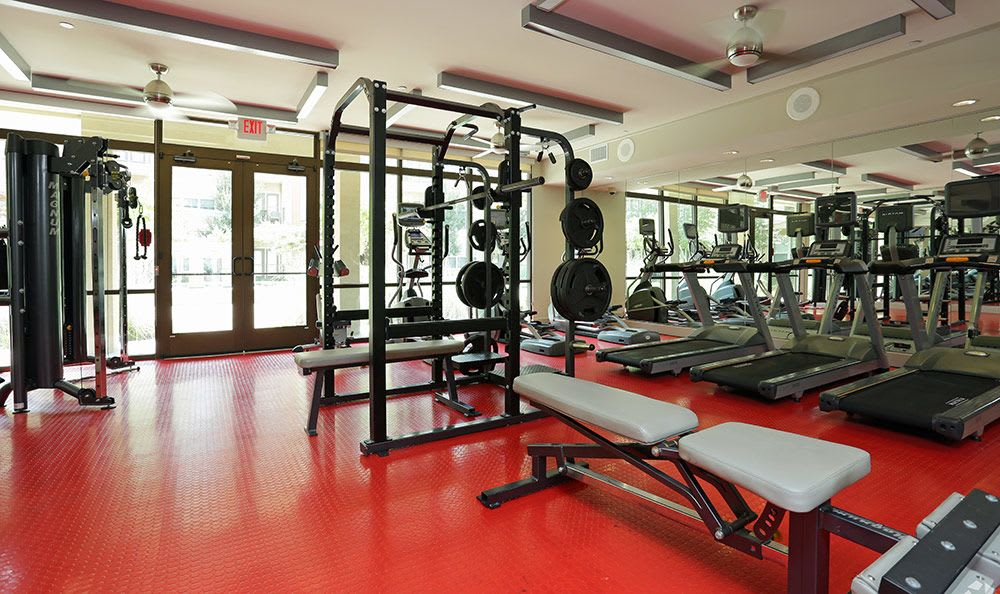 Well-equipped on-site fitness center at Addison Keller Springs in Addison