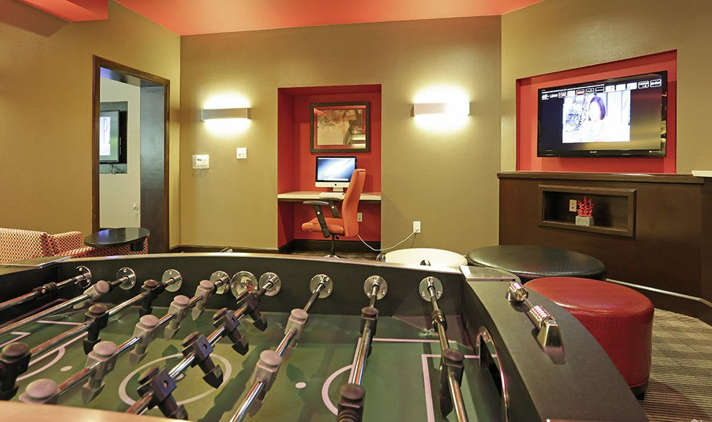 Foosball and more in the clubhouse at Addison Keller Springs in Addison