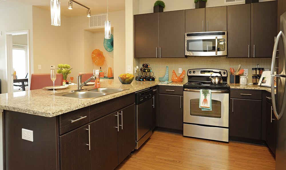 Stainless-steel appliances and more in model kitchen at Addison Keller Springs in Addison