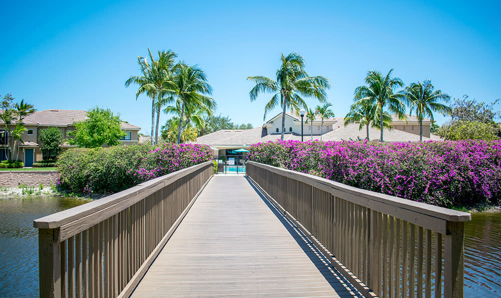 Boardwalk across the canal leading to San Merano at Mirasol in Palm Beach Gardens