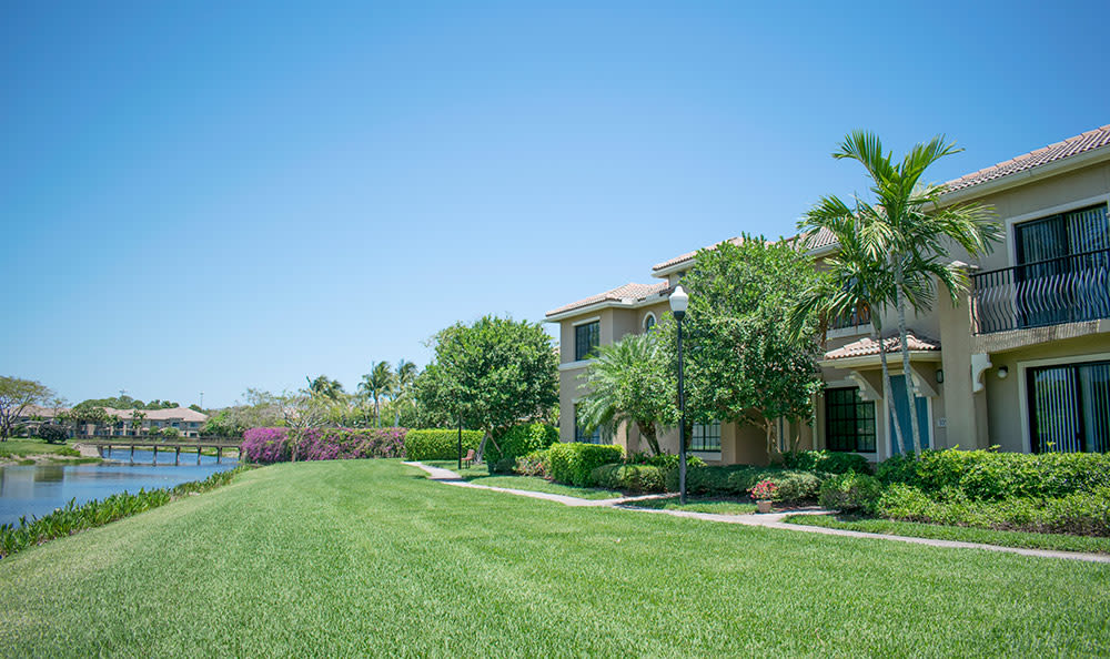 Well-maintained green spaces at San Merano at Mirasol in Palm Beach Gardens