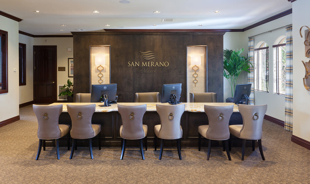 Business center with meeting rooms for resident use at San Merano at Mirasol in Palm Beach Gardens