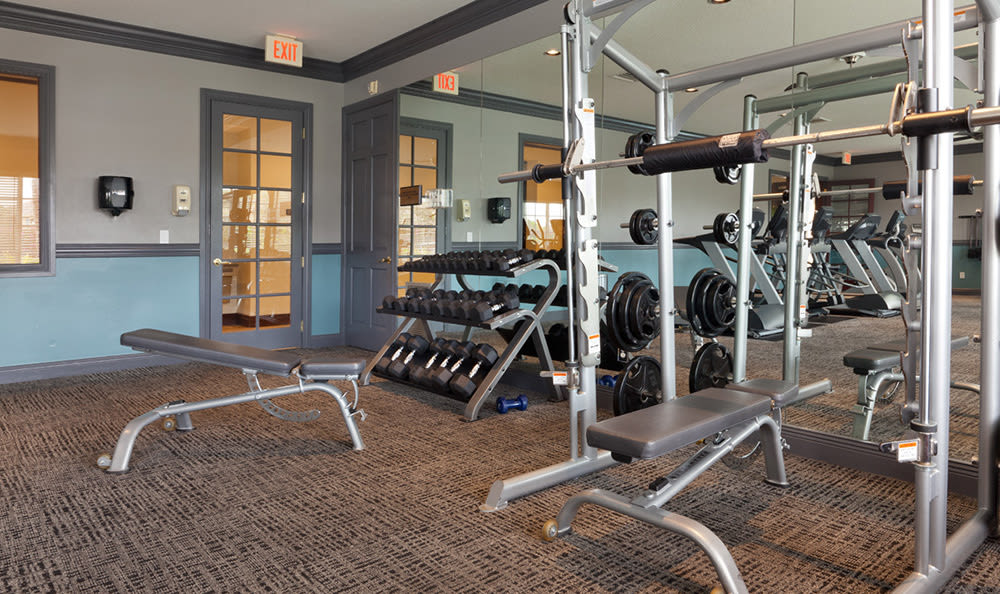 Plenty of weights and machines in the fitness center at San Merano at Mirasol in Palm Beach Gardens