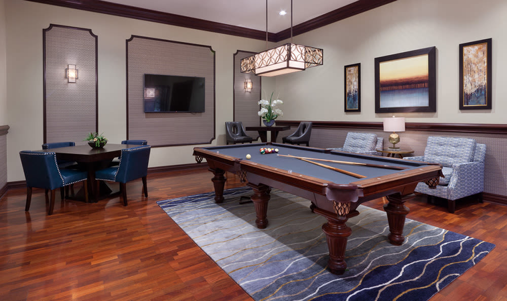 Billiards table in the clubhouse at San Merano at Mirasol in Palm Beach Gardens
