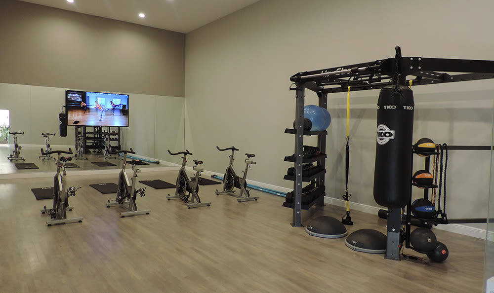 Fully-equipped fitness center at San Merano at Mirasol in Palm Beach Gardens