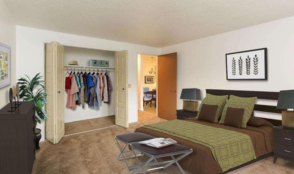 Closet in bedroom at Henrietta Highlands home in Henrietta