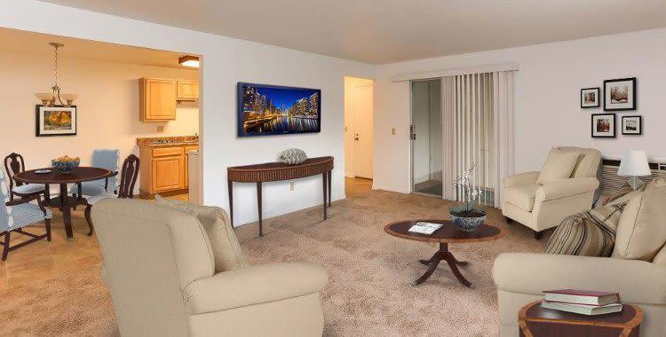 Spacious living room at Henrietta Highlands in Henrietta, New York