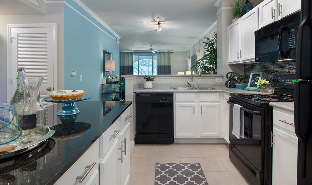 Modern and well-equipped kitchen in model home at The Estates at Park Avenue in Orlando