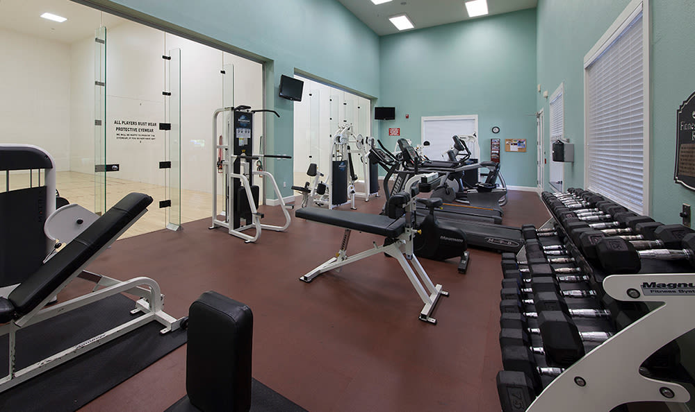 Fully equipped fitness center at The Estates at Park Avenue in Orlando