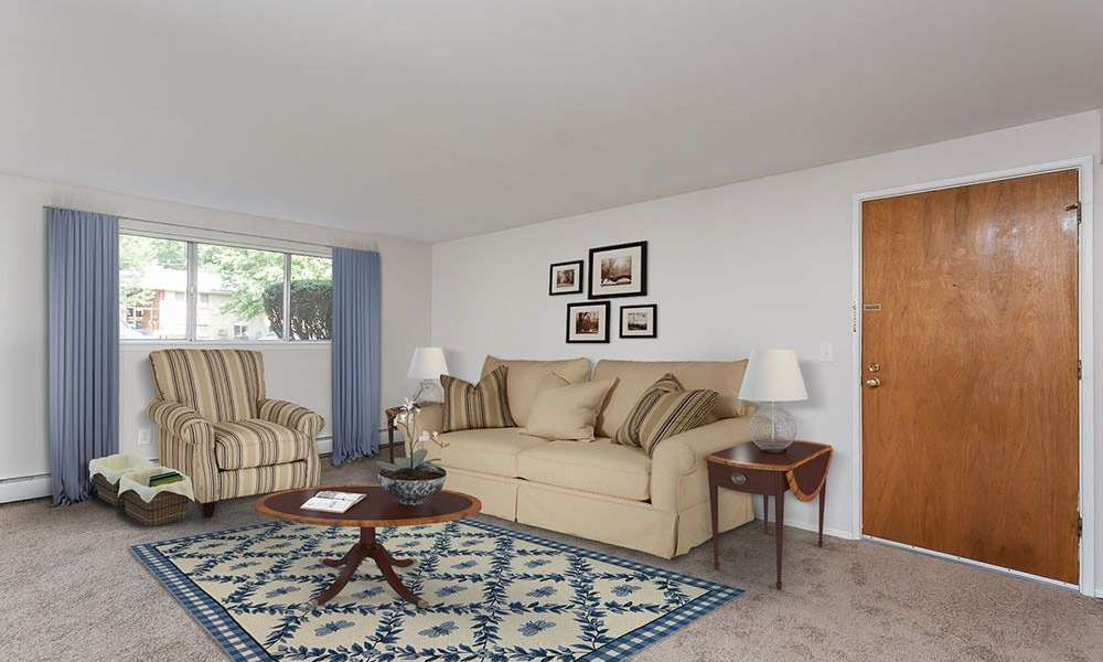 Spacious living room at Long Pond Gardens Senior Apartments