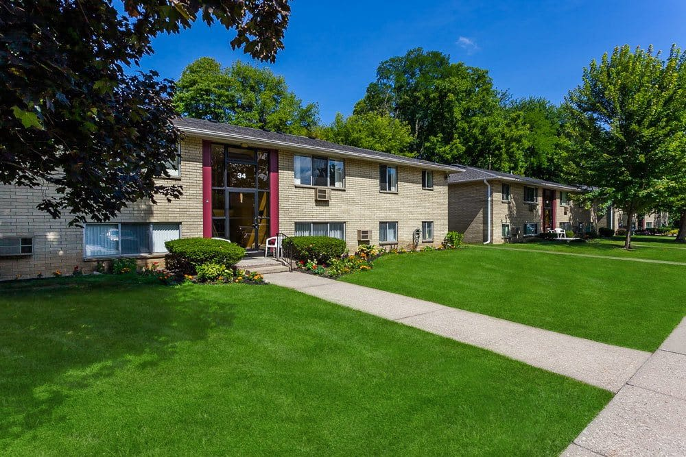 Exterior view of apartment at Long Pond Gardens Senior Apartments in Rochester