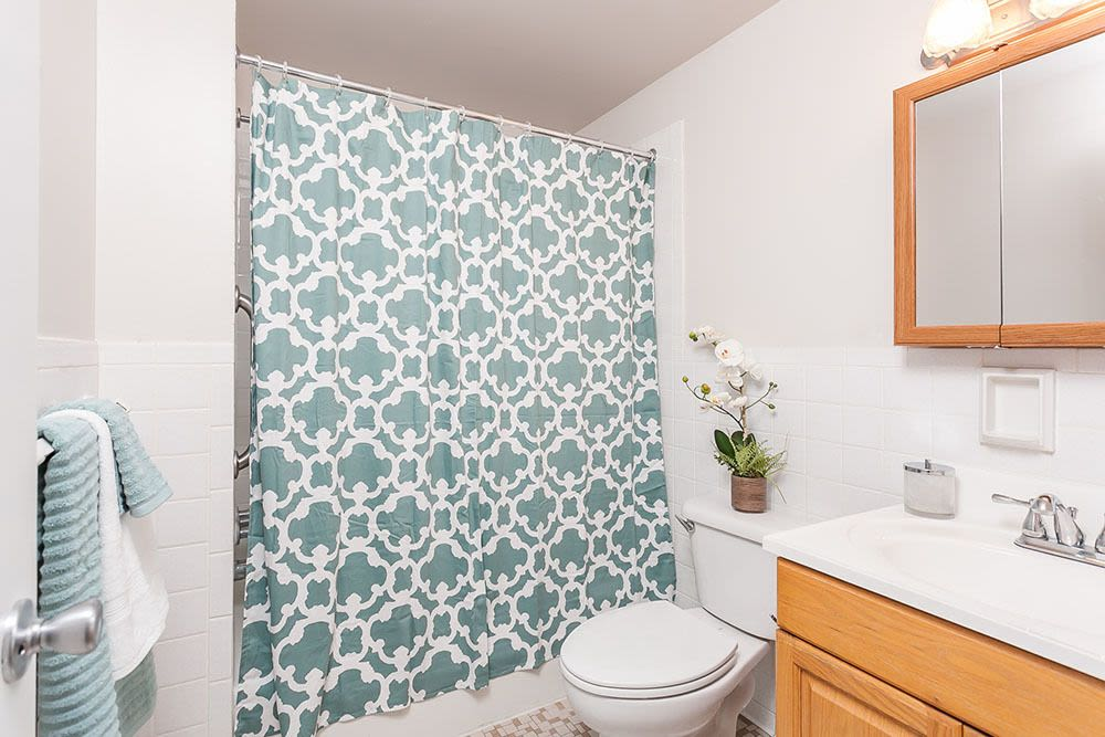 Bathroom at Long Pond Gardens Senior Apartments home in Rochester, New York