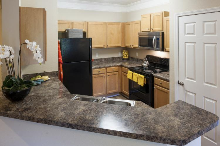 Model kitchen at Carrington Park Apartments