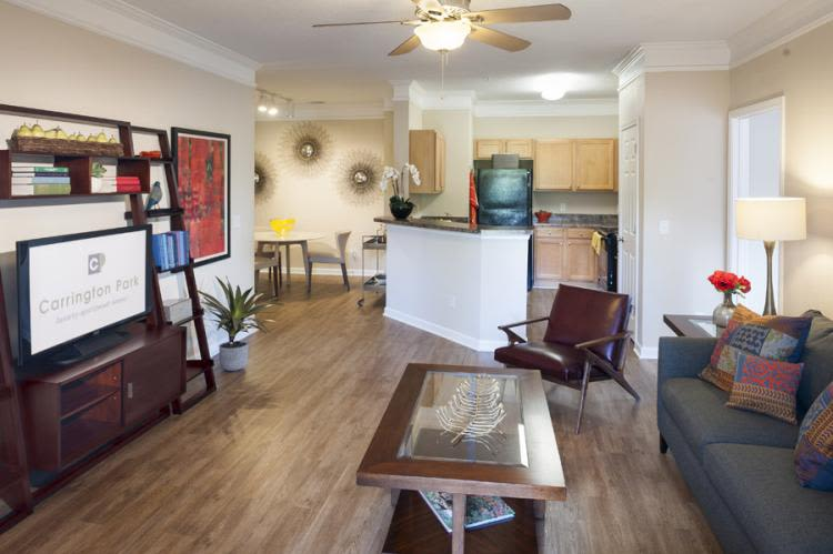 Model apartment interior at Carrington Park Apartments