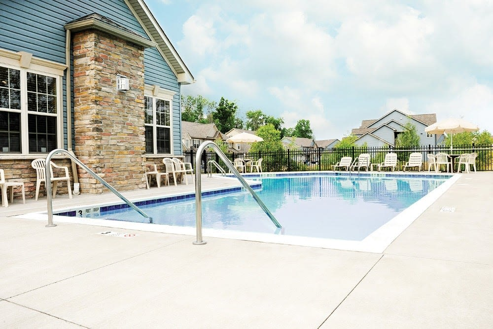Sparkling swimming pool at North Ponds Apartments in Webster, New York