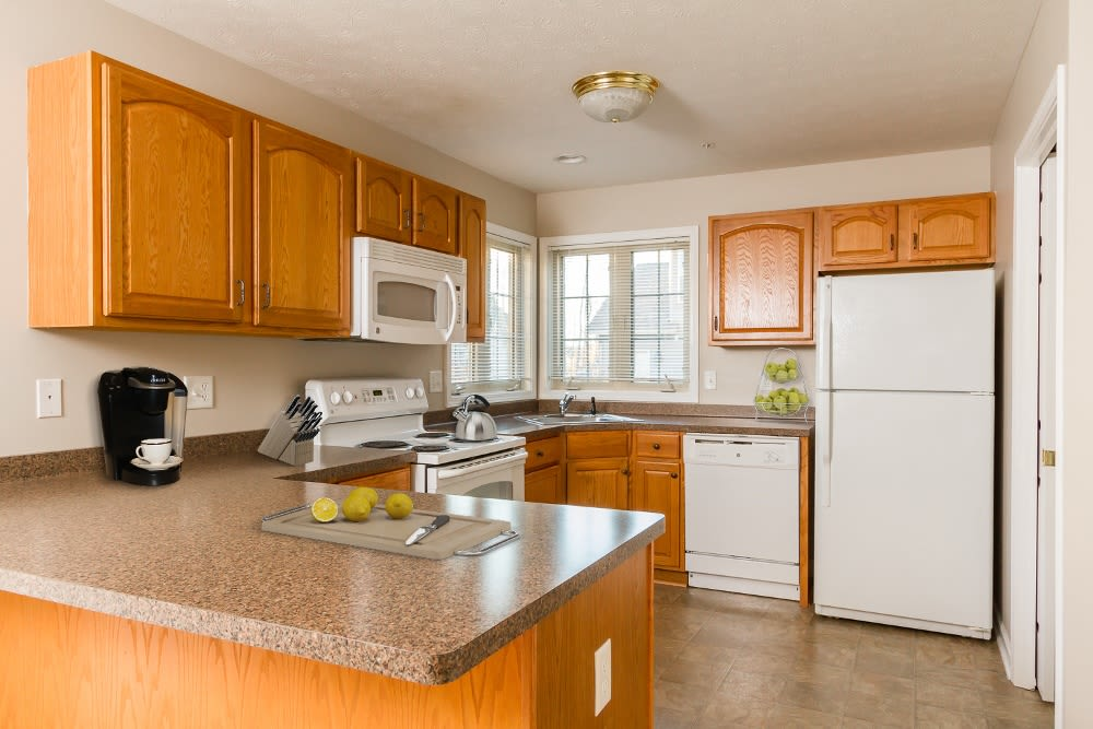 Granite countertops at North Ponds Apartments home in Webster, New York
