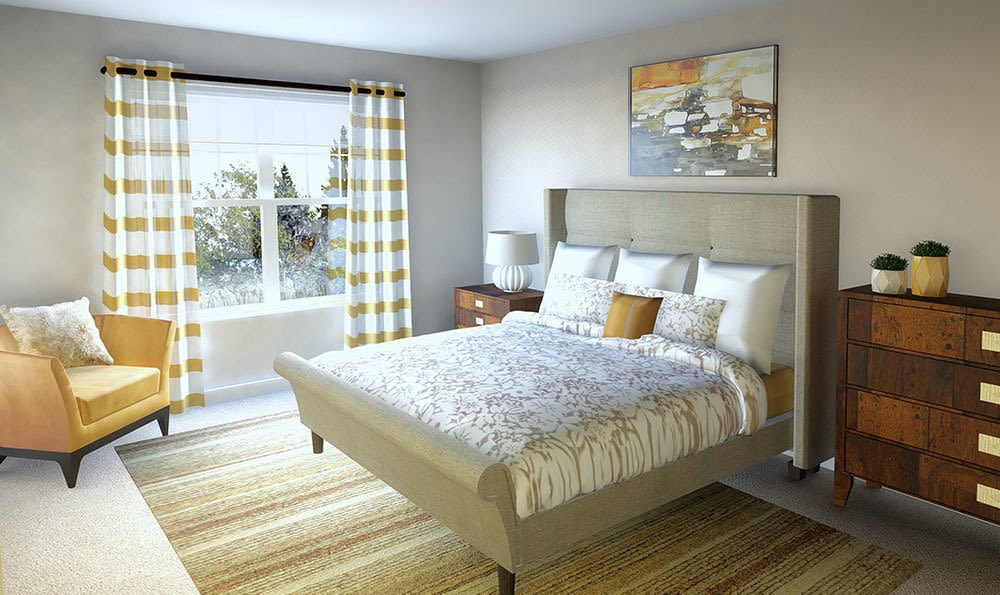 Beautiful bedroom at North Ponds Apartments home in Webster