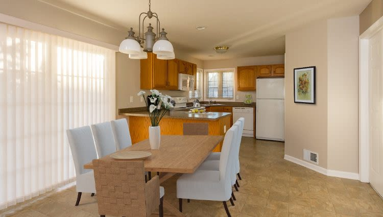 Elegant dining room at North Ponds Apartments
