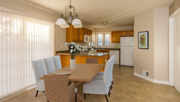 Elegant dining room at North Ponds Apartments