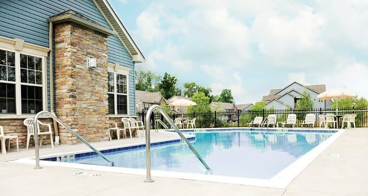 Sparkling pool at North Ponds Apartments in Webster, NY