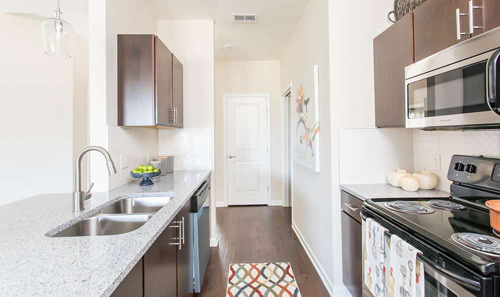 Upgraded kitchen at Orchard View Senior Apartments home