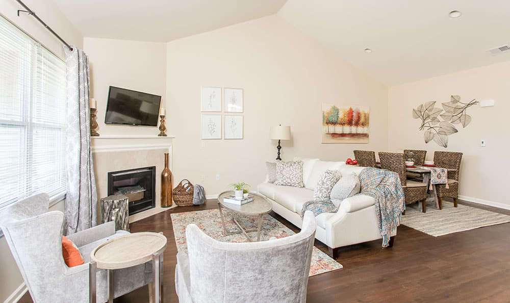 Luxury living room at Orchard View Senior Apartments home