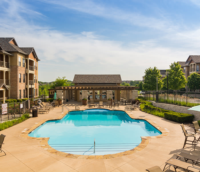 Gorgeous swimming pool area at West End at City Center in Lenexa
