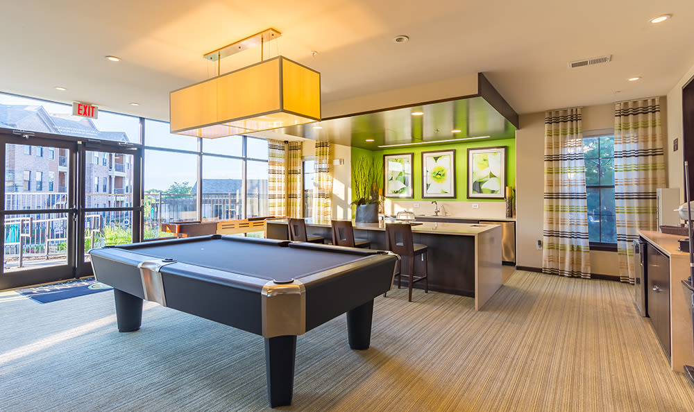 Billiards table in the clubhouse at West End at City Center in Lenexa