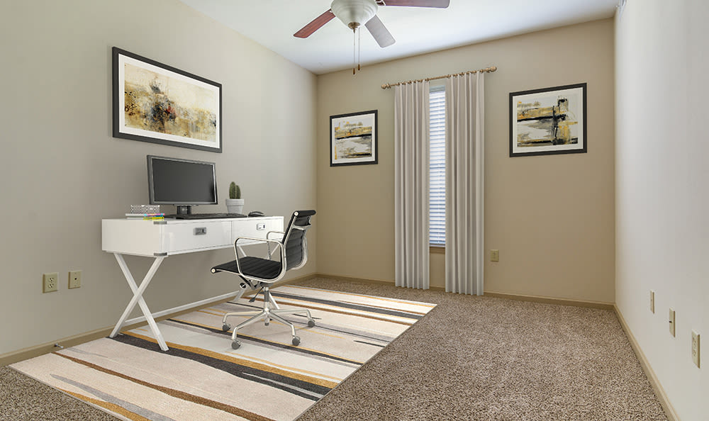 Bedroom setup as home office in model home at West End at City Center in Lenexa