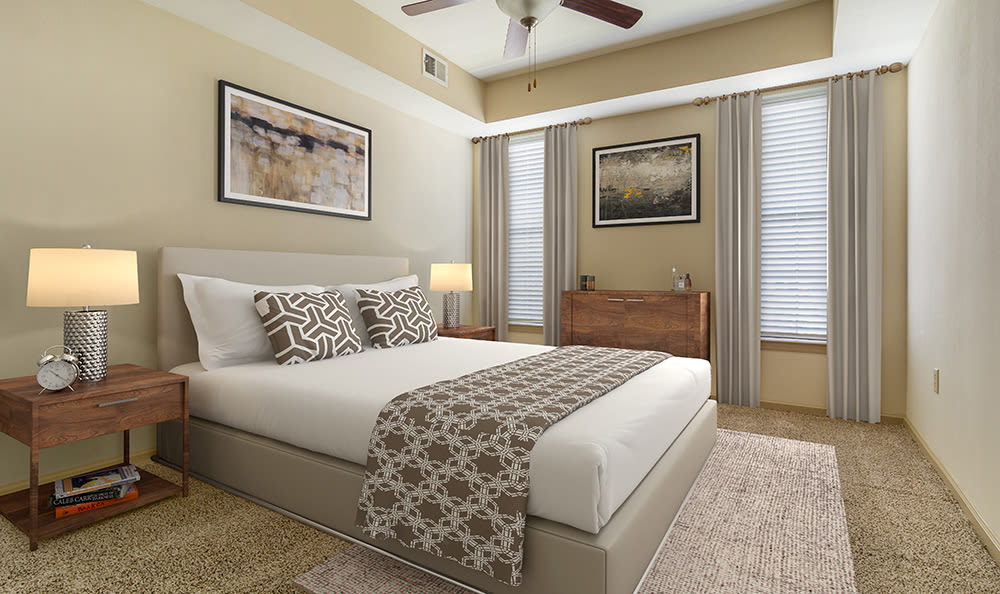 Spacious bedroom in model apartment home at West End at City Center in Lenexa