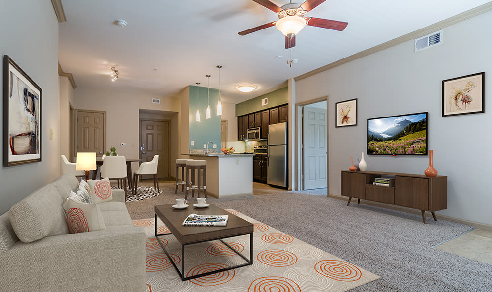 Modern decor and beautiful light fixtures in model home at West End at City Center in Lenexa