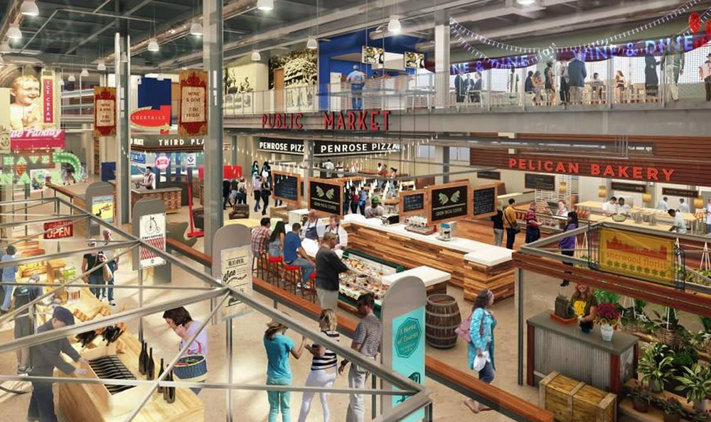 Interior rendering of the new Lenexa Public Market at City Center near West End at City Center