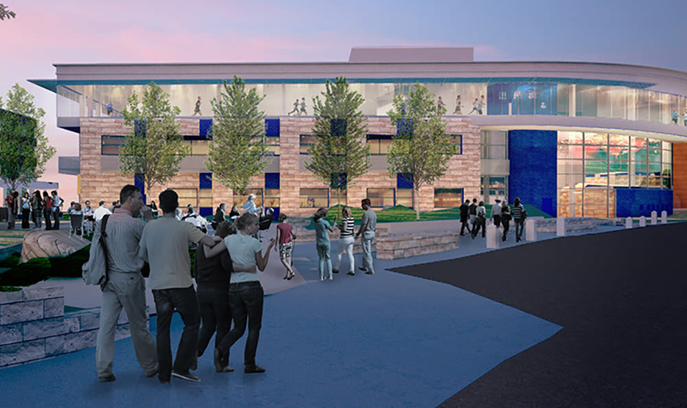 Exterior rendering of the new Lenexa Public Market near West End at City Center