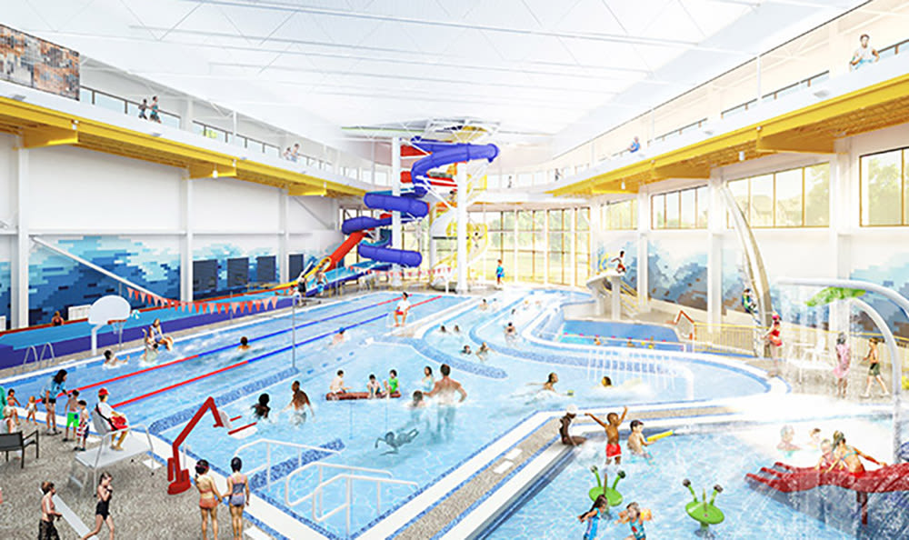 Rendering of the indoor water park at the new Public Market near West End at City Center in Lenexa