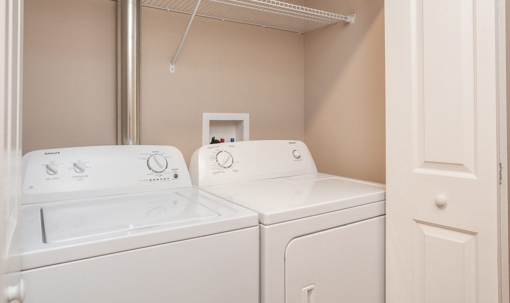 Washer and dryer at Waters Edge Apartments in Webster, New York