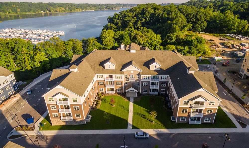 Aerial view of Waters Edge Apartments community in Webster
