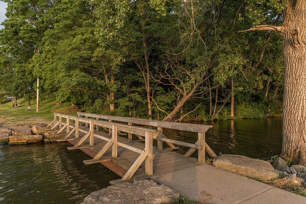 Wood bridge Webster Park near Waters Edge Apartments in Webster New York