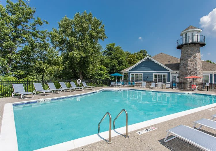 Swimming pool at Waters Edge Apartments in Webster, NY