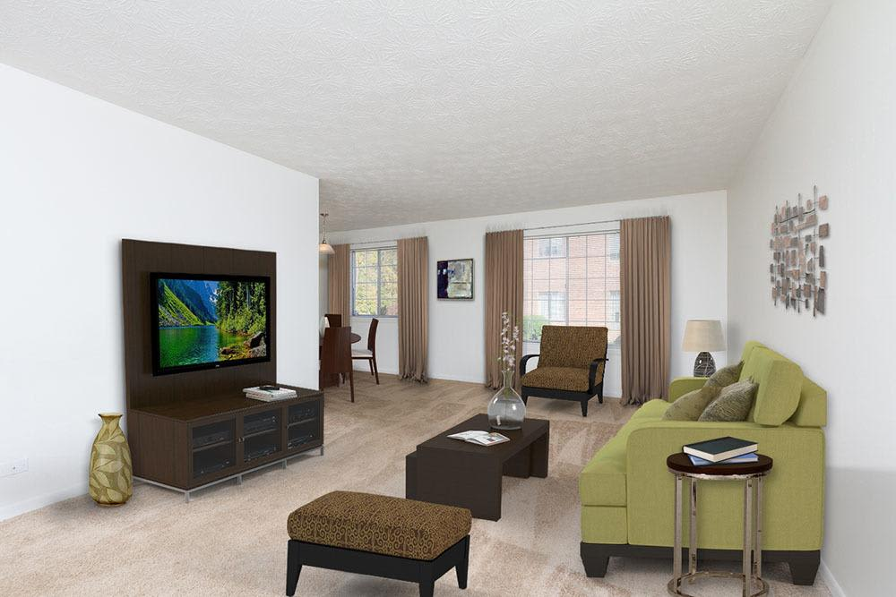 Living room at Waverlywood Apartments and Townhomes home in Webster